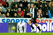 Andy Carroll (#7) of Newcastle United on the ball during the Premier League match between Newcastle United and Southampton at St. James's Park, Newcastle, England on 8 December 2019.