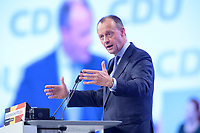 22 NOV 2019, LEIPZIG/GERMANY:<br /> Friedrich Merz, Rechtsanwalt, Lobbyist und ehem.  Vorsitzender der CDU/CSU-Bundestagsfraktion, haelt eine Rede, CDU Bundesparteitag, CCL Leipzig<br /> IMAGE: 20191122-01-214<br /> KEYWORDS: Parteitag, party congress