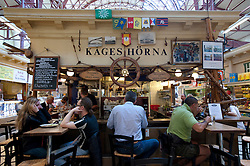 Bar and restaurant in Saluhallen indoor market in Gothenburg Sweden