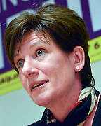 © Licensed to London News Pictures. 12/02/2013. Eastleigh, UK DIANE JAMES. Diane James, chosen yesterday to fight the Eastleigh by election for UKIP, campaigns with Nigel Farage, leader of the party, in Easleigh's Market Street today 12th February 2013. Photo credit : Stephen Simpson/LNP