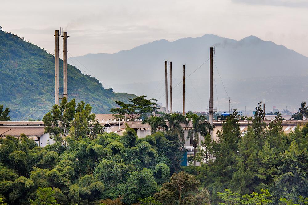 Gistex Facility, a textile company that illegally dumps toxic wastes directly into the Citarum River.  Gistex is a direct distributor to GAP clothing.  Jelegong village, Kabupaten Bandung...Credit: Andri Tambunan for Greenpeace