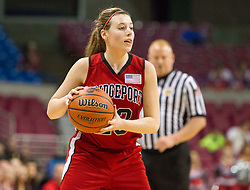 Bridgeport guard Hope Chalfant (23) looks for an open teammate against Fairmont Senior during a first round game at the Charleston Civic Center.