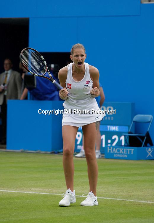 20.06.2015.  Birmingham, England. Aegon Classic Tennis Tournament. Karolina Pliskova (Cze) celebrates her semi-final win over Kristina Mladenovic (Fra). Pliskova (Cze) won 6-2, 7-6.