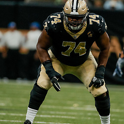 Aug 30, 2018; New Orleans, LA, USA; New Orleans Saints offensive tackle Jermon Bushrod (74) against the Los Angeles Rams during a preseason game at the Mercedes-Benz Superdome. The Saints defeated the Rams 28-0. Mandatory Credit: Derick E. Hingle-USA TODAY Sports