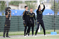 June 16, 2018 - Sochi, Russie - SOCHI, RUSSIA - JUNE 16 : Koen Casteels  goalkeeper of Belgium, Thibaut Courtois goalkeeper of Belgium and Simon Mignolet goalkeeper of Belgium are filmed during a training session of the National Soccer Team of Belgium prior to the FIFA 2018 World Cup Russia group G phase match between Belgium and Panama at the Fisht Stadium on June 16, 2018 in Sochi, Russia, 16/06/2018 (Credit Image: © Panoramic via ZUMA Press)