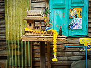 11 MAY 2017 - BANGKOK, THAILAND: Spirit Houses in Pom Mahakan. Spirit houses are traditionally built near homes and buildings in Thailand for the spirits of the property. The final evictions of the remaining families in Pom Mahakan, a slum community in a 19th century fort in Bangkok, have started. City officials are moving the residents out of the fort. NGOs and historic preservation organizations protested the city's action but city officials did not relent and started evicting the remaining families in early March.         PHOTO BY JACK KURTZ