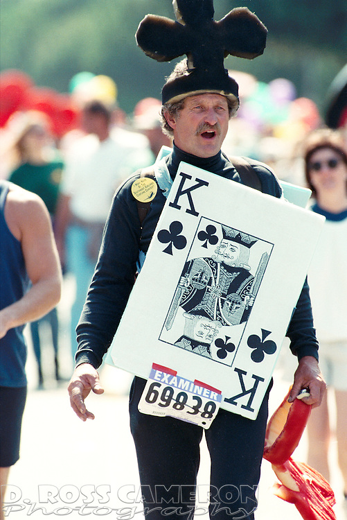 An unidentified man dressed as the King of Clubs strolls through Golden Gate Park at the 85th running of the Bay to Breakers 12K race, Sunday, May 19, 1996 in San Francisco. (Photo by D. Ross Cameron)