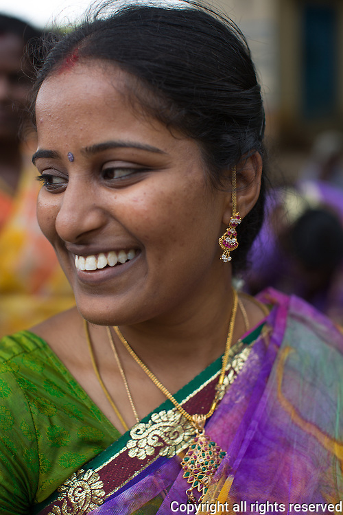 Woman at a village celebration, Karaikudi, Tamil Nadu, India