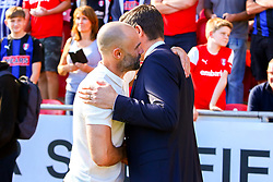 Rotherham United manager Paul Warne and Shrewsbury Town manager Sam Ricketts shake hands - Mandatory by-line: Ryan Crockett/JMP - 21/09/2019 - FOOTBALL - Aesseal New York Stadium - Rotherham, England - Rotherham United v Shrewsbury Town - Sky Bet League One