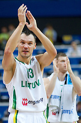 Sarunas Jasikevicius of Lithuania celebrates after the basketball game between National basketball teams of Lithuania and Germany at FIBA Europe Eurobasket Lithuania 2011, on September 11, 2011, in Siemens Arena,  Vilnius, Lithuania. Lithuania defeaed Germany 84-75. (Photo by Vid Ponikvar / Sportida)