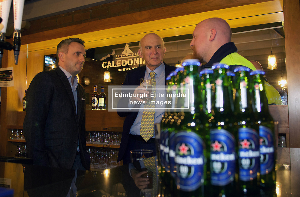 LibDem leader Vince Cable enjoyed a beer at the Caledonian Brewery in Edinburgh with Alex Cole-Hamilton MSP (left) and Peter Sharp, technical manager at the brewery 230218 pic by Terry Murden Edinburgh Elite Media