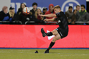 CONVERSION 29-12 Saracens scrum-half Tom Whitely (9) converts a try during the Premiership Rugby Cup match between Saracens and Worcester Warriors at Allianz Park, Hendon, United Kingdom on 11 November 2018.