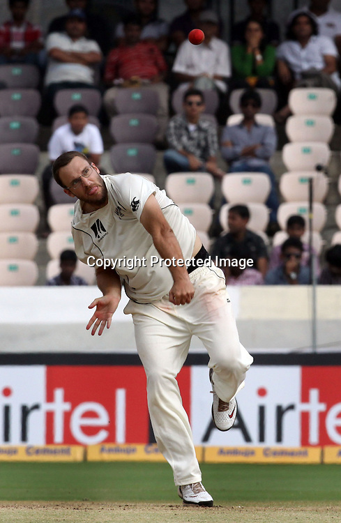 New Zealand bowler Daniel Vettori in bowling action during the 3rd day of the 2nd test match India vs New Zealand Played at Rajiv Gandhi International Stadium, Uppal, Hyderabad 14, November 2010 (5-day match)
