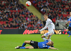 Jamie Vardy of England is challenged by Taijo Teniste of Estonia - Mandatory byline: Paul Terry/JMP - 07966 386802 - 09/10/2015 - FOOTBALL - Wembley Stadium - London, England - England v Estonia - European Championship Qualifying - Group E