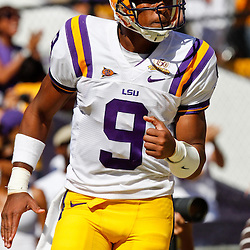 Oct 2, 2010; Baton Rouge, LA, USA; LSU Tigers quarterback Jordan Jefferson (9) celebrates following a touchdown against the Tennessee Volunteers during the first half at Tiger Stadium.  Mandatory Credit: Derick E. Hingle
