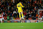 Brad Collins of Barnsley F.C. celebrates the goal scored by Cauley Woodrow of Barnsley F.C. during the EFL Sky Bet Championship match between Barnsley and Derby County at Oakwell, Barnsley, England on 2 October 2019.