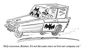 'Holy recession, Batman. It's not the same since we lost our company car'