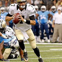 Aug 15, 2014; New Orleans, LA, USA; New Orleans Saints quarterback Luke McCown (7) against the Tennessee Titans during a preseason game at Mercedes-Benz Superdome. Mandatory Credit: Derick E. Hingle-USA TODAY Sports