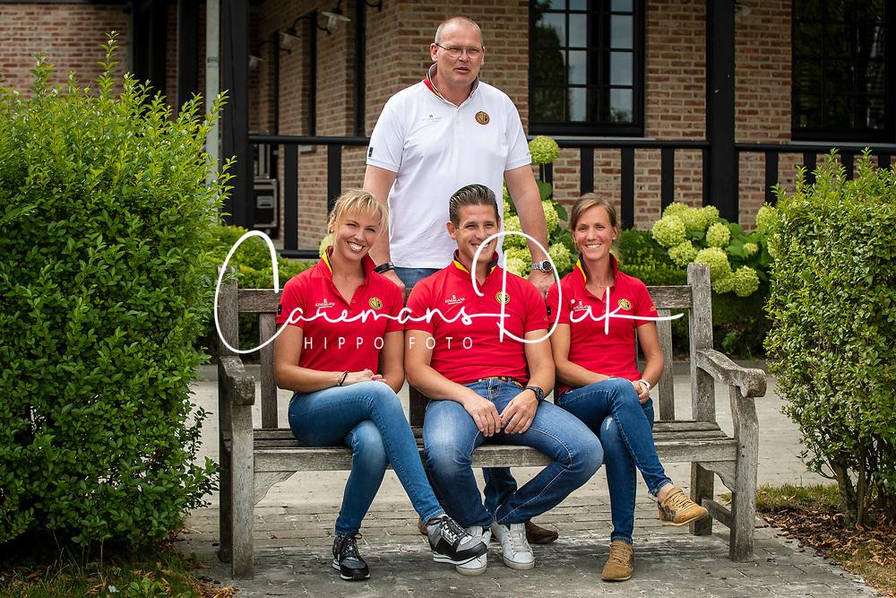 Team Belgium Dressage  <br /> Boven : chef d'equipe, Van Lent Jeroen<br /> Onder : Cool Isabel, Missiaen Simon, Verliefden Fanny<br /> Team Belgium Dressage 2019<br /> © Hippo Foto - Dirk Caremans<br /> 06/08/2019