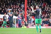 Bristol City striker, Lee Tomlin (9) getting subbed during the Sky Bet Championship match between Brentford and Bristol City at Griffin Park, London, England on 16 April 2016. Photo by Matthew Redman.