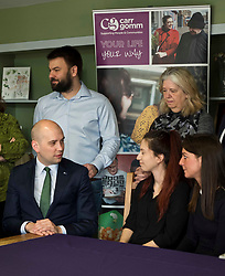 Pictured: Ben MacPherson took full advantage of the opportunity to hear views on migration from staff and clients during his visit<br /> <br /> Migration minister Ben Macpherson visited social care provider Carr Gomm in Edinburgh today where he discussed with staff how proposed new UK immigration rules will hamper the recruitment of health and social care workers from outside the UK and Ireland. <br /> <br /> <br /> Ger Harley | EEm 21 March 2019