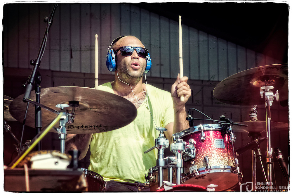 Bomba Estereo  drummer Kike Egurrola performing at Alverno Presents: Global Union in Milwaukee. Photo by Jennifer Rondinelli Reilly.