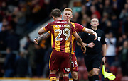 Anthony McMahon and Callum Guy of Bradford City celebrate at full time during the EFL Sky Bet League 1 match between Bradford City and Gillingham at the Northern Commercials Stadium, Bradford, England on 24 March 2018. Picture by Paul Thompson.