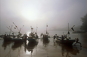 Fishing boats at landing beach beside Galle Fort.