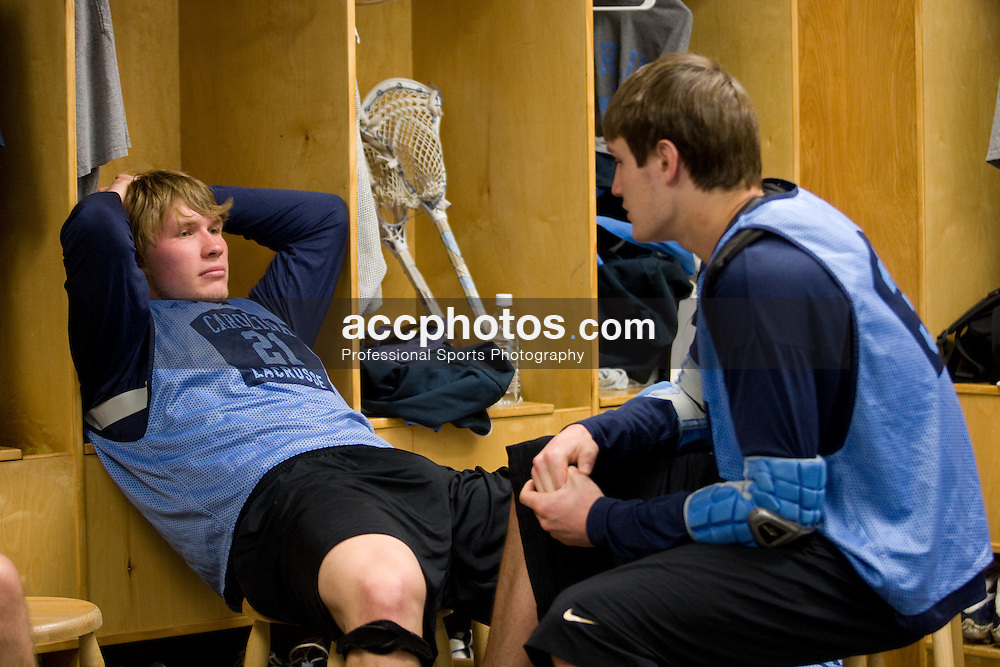 14 April 2008: North Carolina Tar Heels men's lacrosse defenseman Andrew Pyke (21) and midfielder Chris Hunt (37) during a practice day in Chapel Hill, NC.