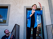 26 APRIL 2019 - TIPTON, IOWA: Sen. ELIZABETH WARREN (D-MA) talks to supporters in front of the Tipton Family Restaurant. The crowd was too big to fit in the restaurant and Sen. Warren talked separately to the people who couldn't get in. Sen. Warren is campaigning in eastern Iowa Friday. Iowa traditionally hosts the the first selection event of the presidential election cycle. The Iowa Caucuses will be on Feb. 3, 2020.                 PHOTO BY JACK KURTZ