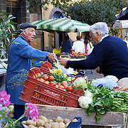 Early morning at market in Piazza del Popolo, Orvieto, Italy