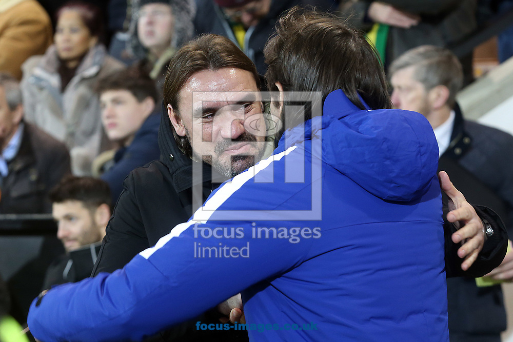 Norwich Head Coach Daniel Farke and Chelsea Manager Antonio Conte before the FA Cup match at Carrow Road, Norwich<br /> Picture by Paul Chesterton/Focus Images Ltd +44 7904 640267<br /> 06/01/2018
