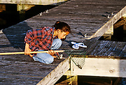 Young girl crabbing from the dock.