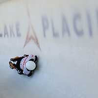 28 February 2007:  Matthias Guggenberger of Austria in turn 18 the 3rd run at the Men's Skeleton World Championships competition on February 28 at the Olympic Sports Complex in Lake Placid, NY.