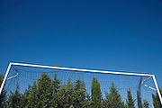 goal post with a dark blue sky