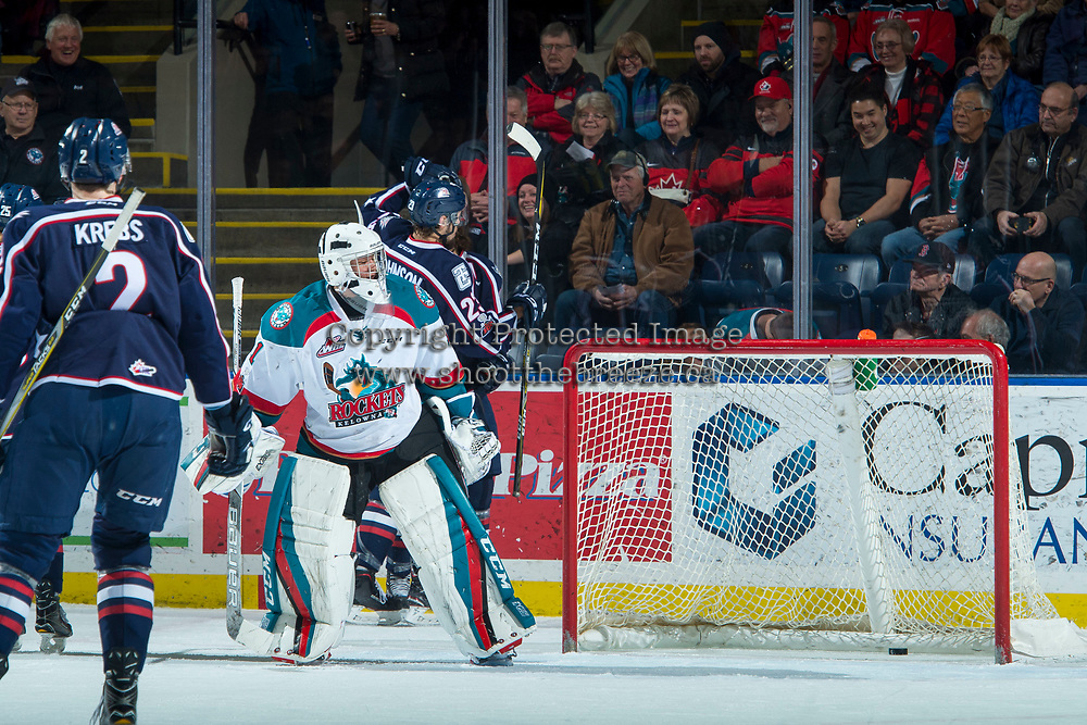 KELOWNA, CANADA - JANUARY 3: Tri-City Americans' celebrate a first period goal against James Porter #1 of the Kelowna Rockets on January 3, 2017 at Prospera Place in Kelowna, British Columbia, Canada.  (Photo by Marissa Baecker/Shoot the Breeze)  *** Local Caption ***