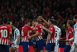 October 27, 2018 - Madrid, Madrid, Spain - Filipe Luis (C) celebrates his goal..during the match between Atletico de Madrid vs Real Sociedad. Atletico de Madrid won by 2 to 0 over Real Sociedad whit goals of Godin and Filipe Luis. (Credit Image: © Jorge Gonzalez/Pacific Press via ZUMA Wire)