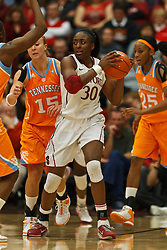 Dec 20, 2011; Stanford CA, USA;  Stanford Cardinal forward Nnemkadi Ogwumike (30) grabs a rebound against the Tennessee Lady Volunteers during the second half at Maples Pavilion.  Stanford defeated Tennessee 97-80. Mandatory Credit: Jason O. Watson-US PRESSWIRE