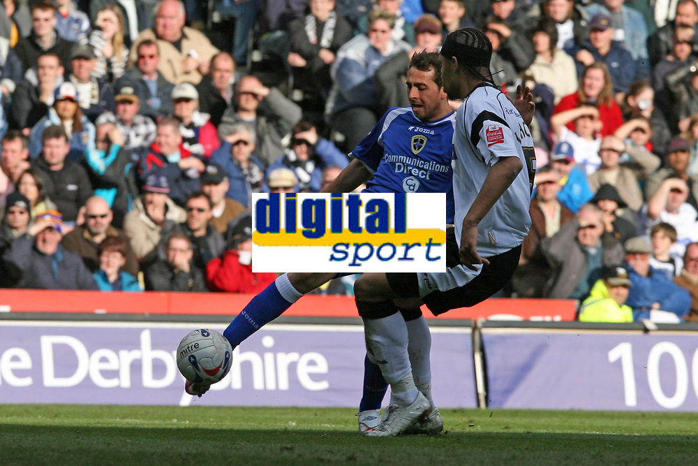 Photo: Pete Lorence.<br />Derby County v Cardiff City. Coca Cola Championship. 17/03/2007.<br />Michael Chopra fires the ball in, only to be stopped by the bar.