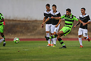 Forest Green Rovers Omar Bugiel(11) shoots at goal scores a goal 2-1 during the Pre-Season Friendly match between SC Farense and Forest Green Rovers at Estadio Municipal de Albufeira, Albufeira, Portugal on 25 July 2017. Photo by Shane Healey.