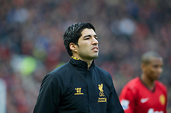 MANCHESTER, ENGLAND - Sunday, January 13, 2013: Liverpool's Luis Alberto Suarez Diaz before the Premiership match against Manchester United at Old Trafford. (Pic by David Rawcliffe/Propaganda)