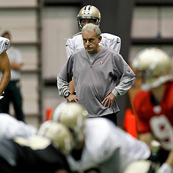 July 26, 2012; Metairie, LA, USA; New Orleans Saints assistant head coach and linebackers coach Joe Vitt watches over practice during the first day of of training camp at the team's practice facility. Mandatory Credit: Derick E. Hingle-US PRESSWIRE