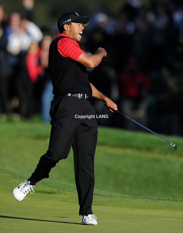 Tiger Woods celebrates the moment he wins The Chevron World Challenge at Sherwood Country Club. Thousand Oaks, CA 12/04/2011(John McCoy/Staff Photographer)