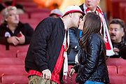FC Cologne fans awaiting for delay kick off at the Europa League match between Arsenal and FC Koln at the Emirates Stadium, London, England on 14 September 2017. Photo by Sebastian Frej.