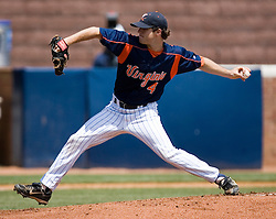 Virginia Cavaliers pitcher Casey Lambert (4).  The Oregon State Beavers defeated the Virginia Cavaliers 7-3 in Game 7 of the NCAA World Series Charlottesville Regional held at Davenport Field in Charlottesville, VA on June 5, 2007.  With the win, the Beavers advance to the NCAA Super Regional.