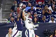 HOUSTON, TX - AUGUST 29:  Vyncint Smith #17 of the Houston Texans goes up for a pass against Jake Gervase #39 and Dont'e Deayon of the Los Angeles Rams during week four of the preseason at NRG Stadium on August 29, 2019 in Houston, Texas. The Rams defeated the Texans 22-10.   (Photo by Wesley Hitt/Getty Images) *** Local Caption *** Vyncint Smith; Jake Gervase; Dont'e Deayon