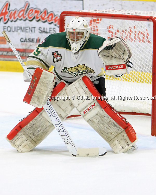 WELLINGTON, ON - SEP 16,  2016: Ontario Junior Hockey League game between Cobourg and Wellington Dukes, Drew Scites #39 of the Cobourg Cougars in the first period.<br /> (Photo by Ed McPherson / OJHL Images)