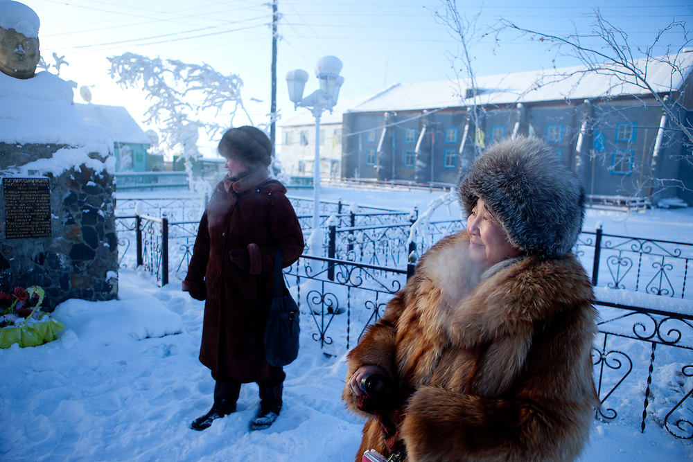 The Pole of Cold. Two elderly women at the  village of Tomtor. The area is extremely cold during the winter. Two towns by the highway, Tomtor and Oymyakon, both claim the coldest inhabited place on earth (often referred to as -71.2°C, but might be -67.7°C) outside of Antarctica. The average temperature in Oymyakon in January is -42°C (daily maximum) and -50°C (daily minimum). The images had been made during an outside temperature in between -50°C up to -55°C. Tomtor, Jakutien, Yakutia, Russian Federation, Russia, RUS, 19.01.2010