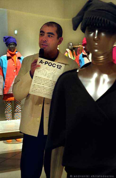 Dai Fujiwara is the main after Issey Miyake designer of A-POC..The A-POC 12 collection in the exhibition room of A-POC studios. .A-POC by Issey Miyake - TOKYO.©: Androniki Christodoulou.