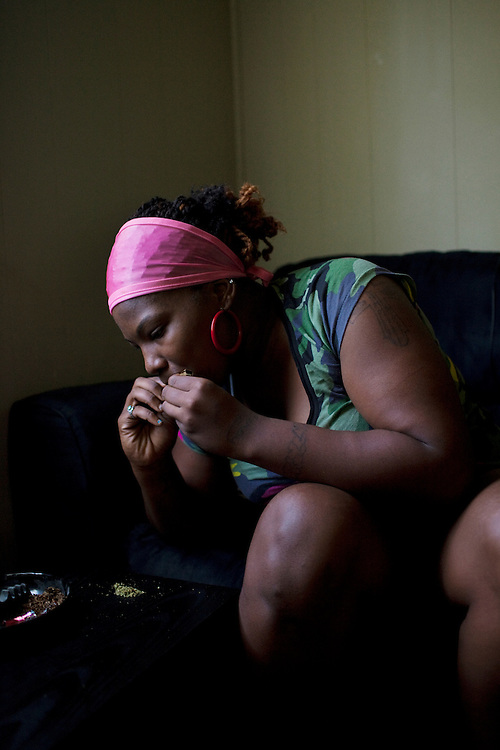 Jabari Wilson tries to stay calm after awaking to find that someone had stolen two ounces of weed and beaten the aging but unfriendly dog chained to his back porch on May 27, 2011 in the Baptist Town neighborhood of Greenwood, Mississippi.